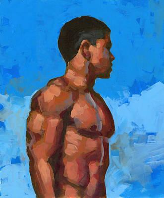 Asian Nude Painting - Beach Mike 2 by Douglas Simonson