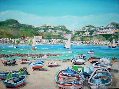 Sicily Painting - Beach Naxos In Sicily by Teresa Dominici