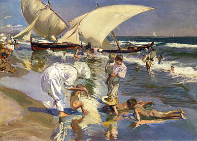 Sorolla Painting - Beach Of Valencia By Morning Light by Joaquin Sorolla