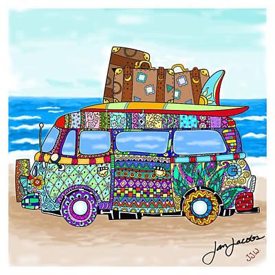 Hippie Van Digital Art - Beach Or Bust by Jan Jacobs