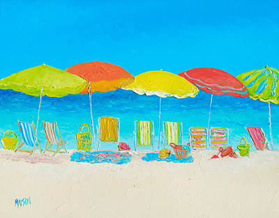 Tropical Art Painting - Beach Painting - Beach Chairs by Jan Matson