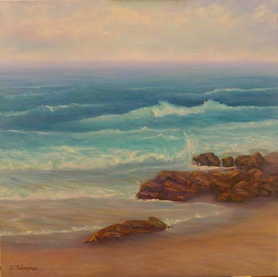 Incoming Tide Painting - Beach Painting Beach Rocks  by Amber Palomares