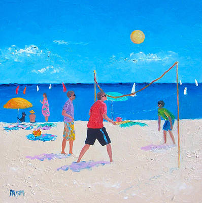 Beach Painting Beach Volleyball  By Jan Matson Art Print by Jan Matson
