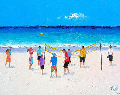 Beach Cabin Painting - Beach Painting - Beach Volleyball   by Jan Matson