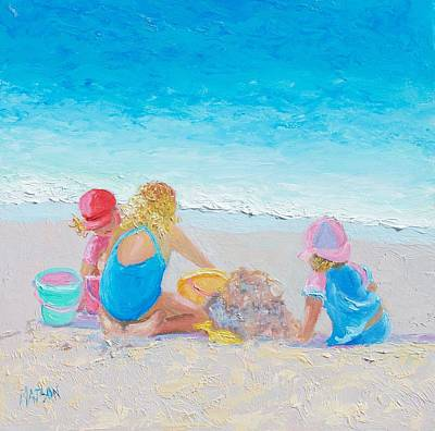 Children Playing On Beach Painting - Beach Painting - Building Sandcastles by Jan Matson