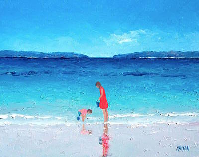 Beach Painting - Cooling Off Art Print by Jan Matson