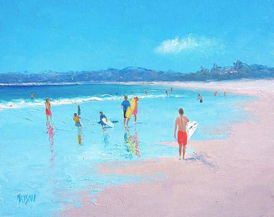 Children Playing On Beach Painting - Beach Painting Last Days Of Summer by Jan Matson