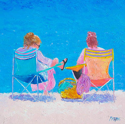 Summer Scene Painting - Beach Painting Soaking Up The Sun By Jan Matson by Jan Matson