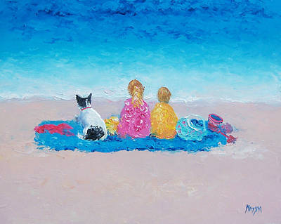 Children And Dog Painting - Beach Painting Sunday At The Beach by Jan Matson