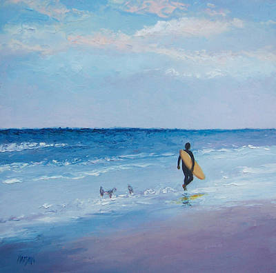 Beach Painting - The Lone Surfer Art Print by Jan Matson