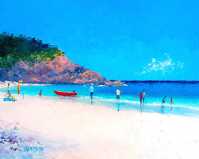 Beach Painting - The Rescue Boat Art Print