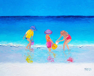 Children Playing On Beach Painting - Beach Painting - Water Play  by Jan Matson
