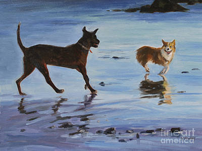 Dog Play Beach Painting - Beach Pals Dogs On Beach Painting by Karen Winters