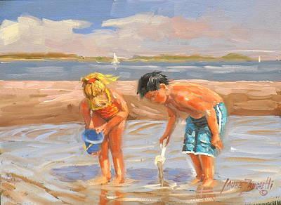 Children On Beach Painting - Beach Pals by Laura Lee Zanghetti