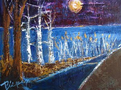 Beach Path At Night Original by Betty Pieper