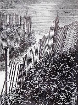 Drawing - Beach Path by Betsy Carlson Cross