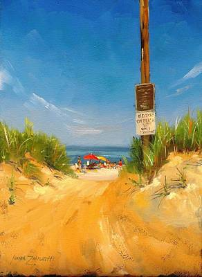 Water Scene Painting - Beach Path by Laura Lee Zanghetti