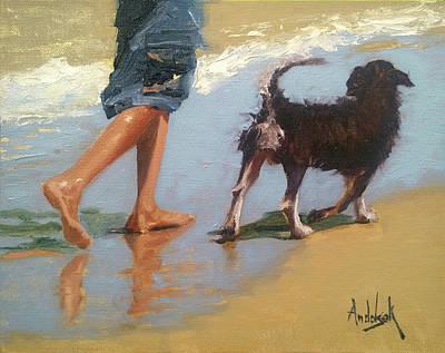 Painting - Beach Paws by Barbara Andolsek