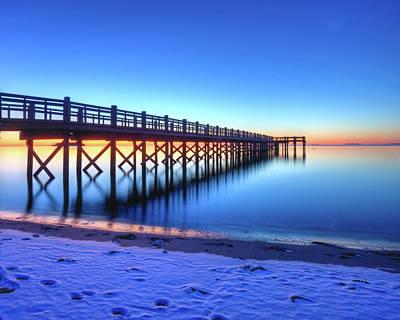 Beach Pier At Winter Sunrise Art Print