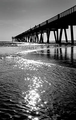 Photograph - Beach Pier Black And White by David Cabana