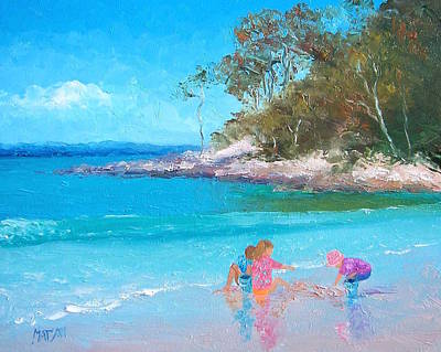 Children Playing On Beach Painting - Beach Play by Jan Matson