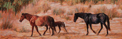 Painting - Beach Ponies - Wild Horses In The Dunes by Bonnie Mason