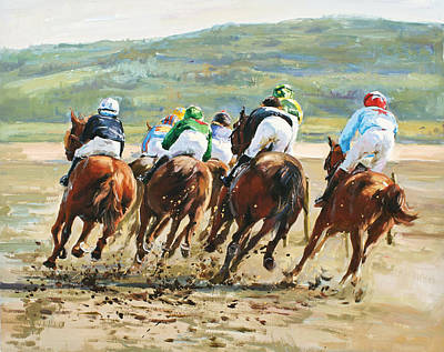 Race Horse Painting - Beach Races by Conor McGuire