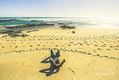 Contemplative Photograph - Beach Relaxation In Tasmania by Jorgo Photography - Wall Art Gallery