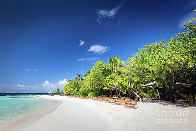 Table Photograph - Beach Restaurant On A Small Island Resort In Maldives, Indian Ocean. by Michal Bednarek