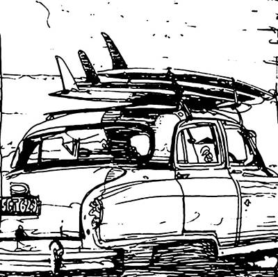 Surfing Art Drawing - Beach Rider B And W by Andoni Galdeano