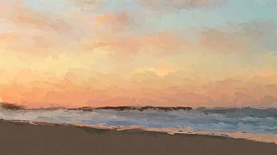 Sunset Abstract Mixed Media - Beach Sand And Sun by Anthony Fishburne