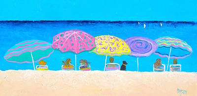 People On Beach Wall Art - Painting - Beach Sands Perfect Tans by Jan Matson