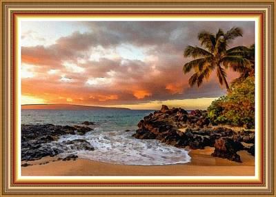 Beach Scene At Lexington Bay L B With Decorative Ornate Printed Frame. Art Print by Gert J Rheeders