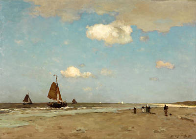 Beach Scene Art Print by Jan Hendrik Weissenbruch