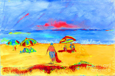 Beach Landscape Drawing - Beach Scene by Lynn Rogers