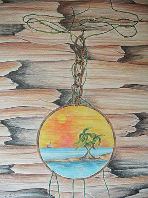 Decoupage Drawing - Beach Scene On Wood by Tom Rechsteiner