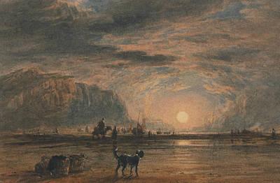 Painting - Beach Scene - Sunrise by David Cox