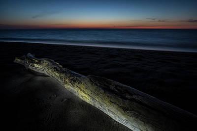 Photograph - Beach Scene With Light Painted Driftwood by Sven Brogren
