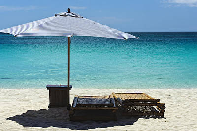 Beach Scene With Lounger And Umbrella Art Print by Paul W Sharpe Aka Wizard of Wonders