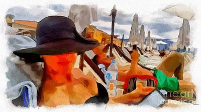 Mixed Media - Beach Sea Girl Sun by Yury Bashkin