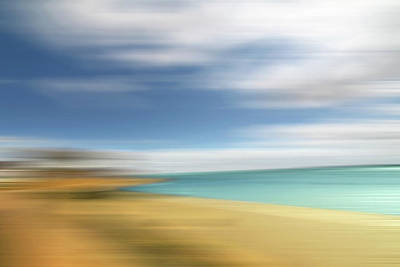 Blue And Turquoise Abstract Photograph - Beach Seascape Abstract by Gill Billington