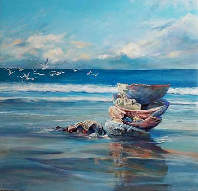 Reflexion Painting - Beach Shells by Margaret Anderson