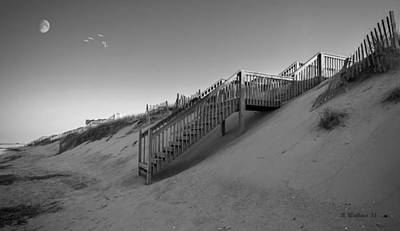 Beach Side - Obx - Bw Art Print by Brian Wallace
