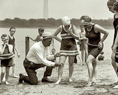 Beach Skirt Patrol 1922 Art Print by Daniel Hagerman