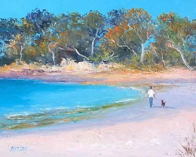 Gum Tree Painting - Beach Stroll by Jan Matson