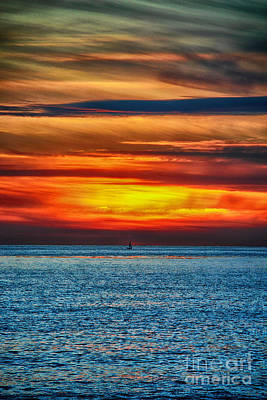 Art Print featuring the photograph Beach Sunset And Boat by Mariola Bitner