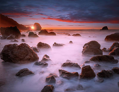 Featured Tapestry Designs - Beach sunset at San Francisco by William Freebilly photography