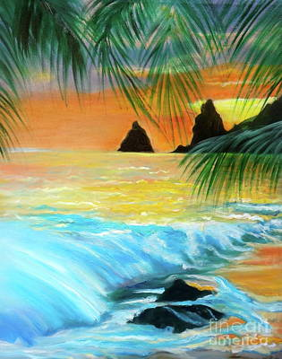 Beach Sunset Art Print by Jenny Lee