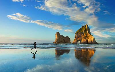 Jog Digital Art - Beach Sunset Jog  by F S