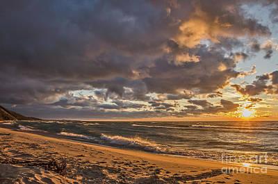 Photograph - Beach Sunset On Lake Michigan by Sue Smith